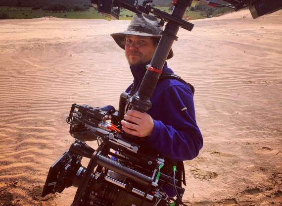 Peter Barta, on an H&M commercial shoot in the Mungo National Park in New South Wales, Australia