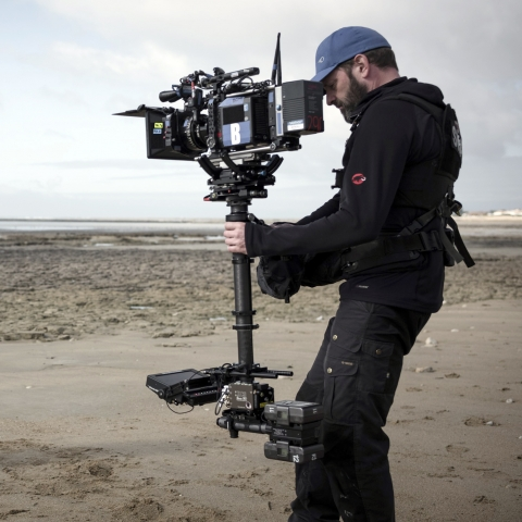 Benjamin shooting 'Das Boot' Season 2 with XCS rig with Tansvideo CineMonitorHD XSBL